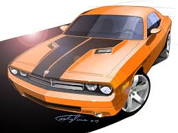 drawn vehicle challenger pencil and in color drawn vehicle