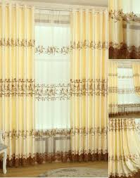 Gold Living Room Curtains Quality Gold Color Polyester Embroidery Elegant Living Room