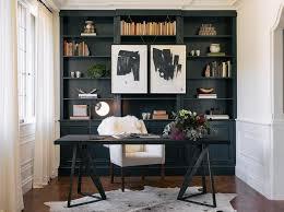 Black Desk Office Black Desk With White Chair Transitional Den Library Office