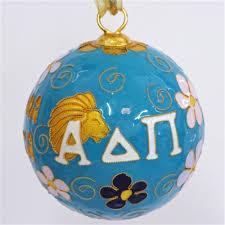 alpha delta pi original cloisonne ornament with blue background