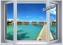 maldives resort window 1 piece peel stick wall mural