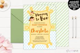mommy to bee baby shower invitation tem design bundles