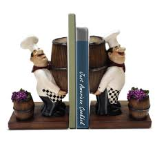fat chef bookends with grapes and barrel cool u0026 unusual bookends