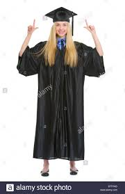 graduation robe length portrait of happy woman in graduation gown