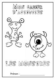 Page de garde cahier dactivités sur le thème  les monstres