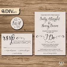 kraft paper wedding invitations printable diy wedding invitation suite response card initial