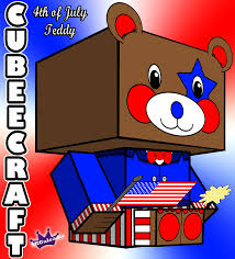 cubeecraft of 4th of july teddy bear with suit and bow tie skgaleana