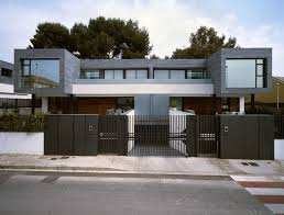 Twin Home Floor Plans Architecture Modern Exterior Design With Dark Grey Metal Fence