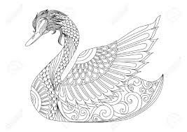 drawing swan for coloring page shirt design effect logo tattoo