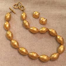 bead necklace gold images Vintage vintage matte gold bead necklace clip earrings from jpg