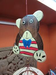 funky stuff mobile wooden teddy bear wind chime hanger 75 cm