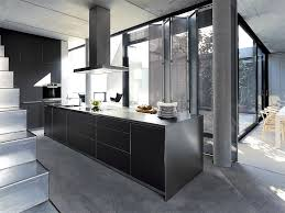 edelstahl küche deisign inselküche b3 in edelstahl und schwarz