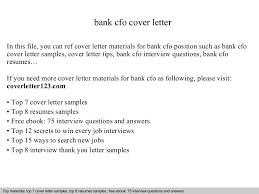 Cfo Resume Sample by Bank Cfo Cover Letter