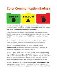 What Color Does Yellow Represent by Color Communication Badges By Autistic Self Advocacy Network Issuu