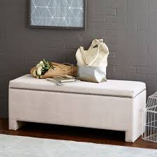Padded Storage Bench Nailhead Storage Bench West Elm