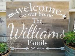 Family Wood Sign Home Decor Personalized Family Sign Welcome To Our Home Sign
