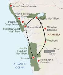 Namibia Map Namibia Private Journey Itinerary U0026 Map Wilderness Travel