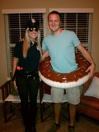 cop and donut tired of the policewoman costume bring a
