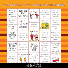 the going home for thanksgiving bingo card the bold italic