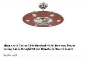 downrod mount ceiling fan lowe s allen roth dexter 28 brushed nickel downrod ceiling fan