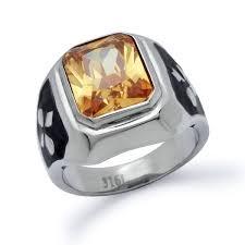 stainless steel rings for men men s stainless steel simulated citrine ring kriskate co