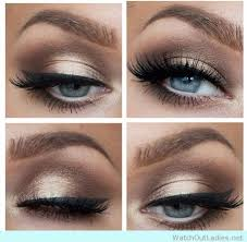 amazing gold and brown makeup for blue eyes
