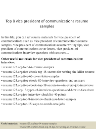 Communications Resume Examples by Top 8 Vice President Of Communications Resume Samples 1 638 Jpg Cb U003d1432734167