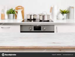 Kitchen Background Bleached Wooden Texture Table On Defocused Pastel Color Kitchen