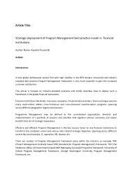 Domain Manager Title A White Paper On Program Management