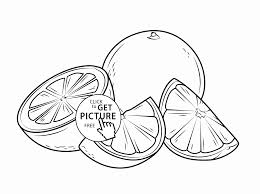 orange cut into pieces fruit coloring page for kids fruits