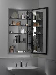 bathroom cabinet with lights and mirror intended for hinged