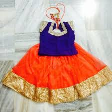 orange and blue combination kids collection online buy best readymade kids lehengas online at