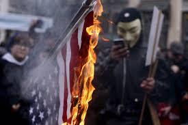 Flag Burning Protest Portland Protest Demonstrators Disperse After Police Warnings
