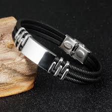 metal silicone bracelet images Mozo fashion men 39 s bracelets stainless steel silicone bracelet jpg