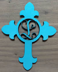 initial home decor unfinished wood cross monogram door hanger laser cutout with your