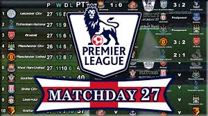 english premier league results table english premier league results table fixtures matchday 27 28