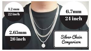 silver necklace chain lengths images Silver chains length and width comparison jpg