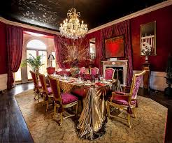 dining room sparkling fuchsia on the wall coupled with black on
