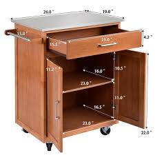 kitchen storage cabinet cart costway wood kitchen trolley cart island stainless