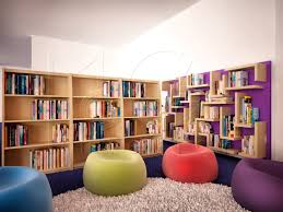 bookshelves design l shaped wooden bookshelves with clear wooden finishing and purple