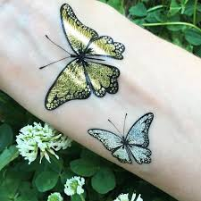 butterfly tattoos gold silver temporary flash tattoos