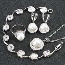 white stone necklace sets images 925 silver jewelry sets white simulated pearl white stones cz for jpg