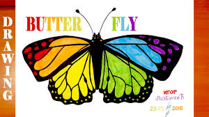 how to draw a rainbow butterfly easy for kids and color