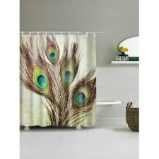 Curtains With Hooks Peacock Feather Fabric Shower Curtain With Hooks Light Brown W