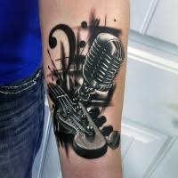 tattoo 3d guitar massive very realistic black ink gibson guitar tattoo on arm
