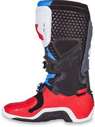 motocross boots alpinestars alpinestars mens leather red white blue dirtbike offroad tech 10