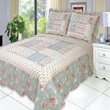 country cottage floral patchwork quilt coverlet set luxury