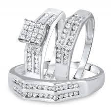 Trio Wedding Ring Sets by Carat Diamond Trio Wedding Ring Set 14k White Gold