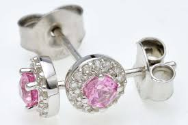 diamond stud earrings uk 9ct white gold pink sapphire diamond stud earrings uk shop