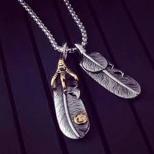 long necklace men images Eagle claw feather pendant necklac mr peachy jpg